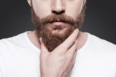 그의 완벽한 수염을 만지면. 회색 배경에 서있는 동안 그의 수염을 만지고 젊은 수염 남자의 확대 스톡 콘텐츠 - 32264149