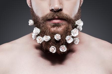 Cuida bien de tu barba! Primer plano de hombre sin camisa joven con flores en la barba de pie contra el fondo gris Foto de archivo - 32264177