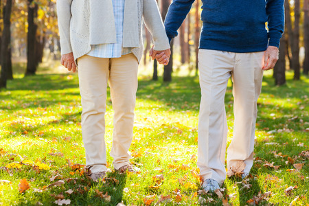 holding hands while walking: Spending great time in park. Close-up of senior couple holding hands while walking by park together