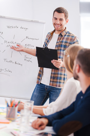 Confident in his speech. Business people in smart casual wear sitting together at the table while confident young man standing near whiteboard and pointing it with smile