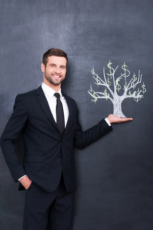 buying stock: Dollars on a tree. Handsome young man smiling and looking at camera while standing against chalk drawing on the blackboard