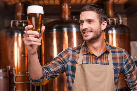 Happy brewer. Happy young male brewer in apron holding glass with beer and looking at it with smile while standing in front of metal containers Stockfoto