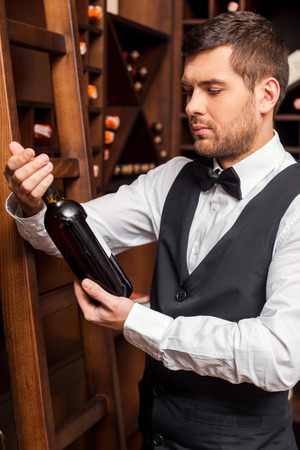 This wine is perfect. Confident male sommelier examining wine bottle while standing near the wine shelf
