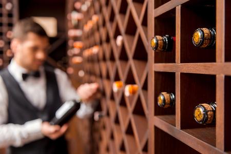 vino: Recomiendo este vino. Sommelier de sexo masculino confidente que muestra la botella de vino y sonriendo mientras est� de pie cerca de la estanter�a de vinos