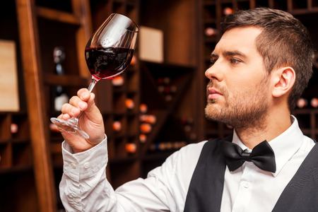 wine testing: This wine is just perfect. Confident male sommelier examining glass with wine while standing near the wooden shelf
