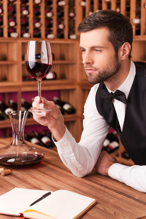 high society: This wine is perfect. Confident male sommelier examining wine while looking at the wineglass and leaning at the wooden table with wine shelf in the background Stock Photo