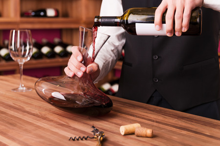sommelier: Sommelier at work. Confident male sommelier pouring wine to decanter while standing near the wine shelf