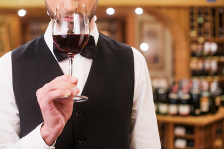 winery: Confident and experienced sommelier. Close-up of confident young man in waistcoat and bow tie holding wine glass with red wine and smelling it Stock Photo