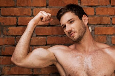 only the biceps: Masculinity. Handsome young muscular man posing while standing against brick wall Stock Photo