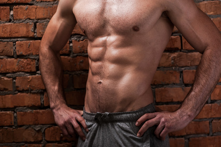 abdominal wall: Perfect body. Cropped image of young muscular man holding hands on hips while standing against brick wall