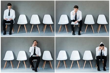 the emotions: A la espera de su entrevista. Collage del joven empresario en camisa y corbata expresar diferentes emociones mientras est� sentado en la silla y esperando la entrevista Foto de archivo