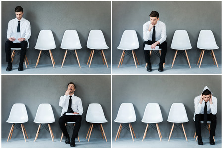 emotions: Waiting for his interview. Collage of young businessman in shirt and tie expressing different emotions while sitting on the chair and waiting for interview Stock Photo
