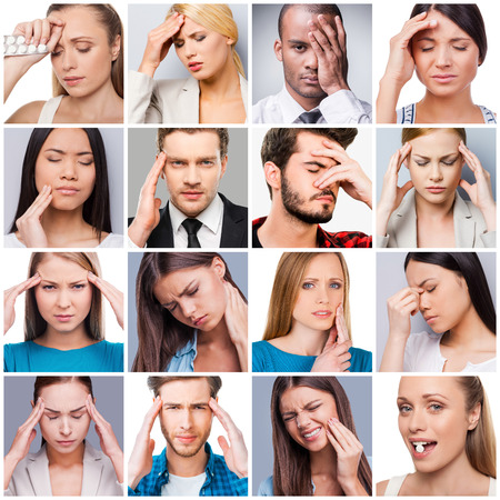 collage caras: Molestias y dolores. Collage de diversas personas multiétnicas que sufren de diferentes dolores y molestias