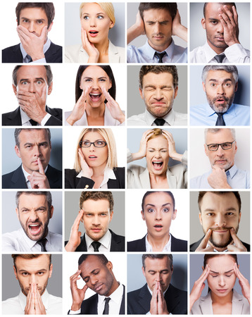 expressing: Business emotions. Collage of diverse multi-ethnic business people expressing different emotions Stock Photo