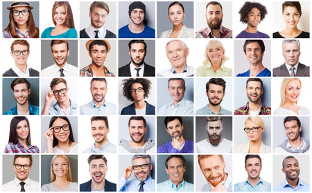 sonrisa: Diversas personas. Collage de diversas personas de edad multi�tnicas y mixtos que expresan diferentes emociones