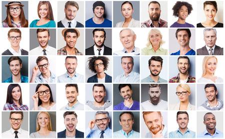 Olika människor. Collage av olika multietniska och åldersblandade människor som uttrycker olika känslor