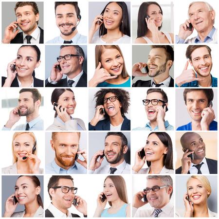 collage caras: La comunicación hace que la gente más cerca. Collage de diversas personas de edad multiétnicas y mixtos que expresan positividad mientras se habla por los teléfonos móviles