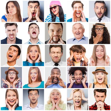 personas orando: Diversas personas con diferentes emociones. Collage de diversas personas de rango de edad multi�tnicas y mixtos que expresan diferentes emociones Foto de archivo