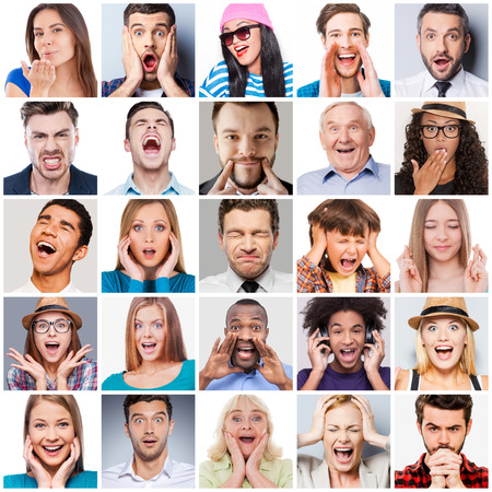 facial expression: Diverse people with different emotions. Collage of diverse multi-ethnic and mixed age range people expressing different emotions