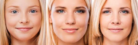 to process: Proceso de envejecimiento. Composición de tres imágenes con mujeres pelo rubio de diferentes edades mirando a la cámara y sonriendo Foto de archivo