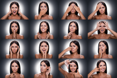 expressing: Collage of beautiful young shirtless woman expressing diverse emotions and gesturing while standing against grey background