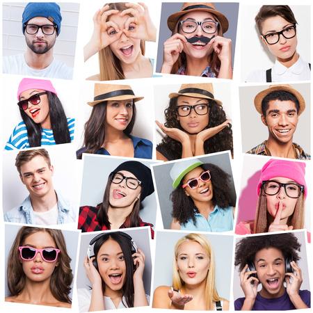 collage caras: Joven y despreocupada. Collage de diversas personas jóvenes multiétnicos expresan diferentes emociones
