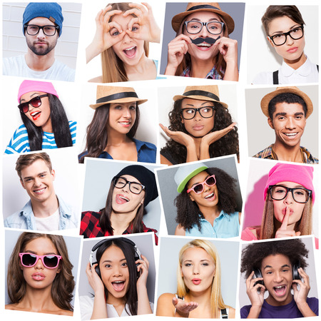 facial expression: Young and carefree. Collage of diverse multi-ethnic young people expressing different emotions