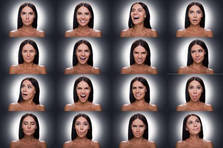 expresion corporal: Collage de hermosa mujer joven sin camisa expresar diversas emociones mientras está de pie contra el fondo gris Foto de archivo