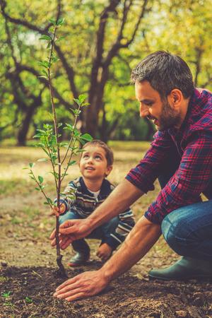 We doen alles samen doen. Gelukkig jonge man het planten van een boom terwijl zijn zoontje hem te helpen
