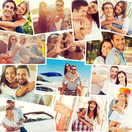 liebe: Liebevolle Paare. Collage aus verschiedenen multiethnischen Liebespaaren Ausdruck Positivität