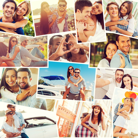 toothy smiles: Loving couples. Collage of diverse multi-ethnic loving couples expressing positivity