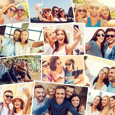 amistad: Nos encanta selfie! Collage de diversas personas jóvenes multi-étnicos que selfie y expresan positividad