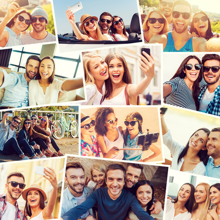 friendships: We love selfie! Collage of diverse multi-ethnic young people making selfie and expressing positivity Stock Photo