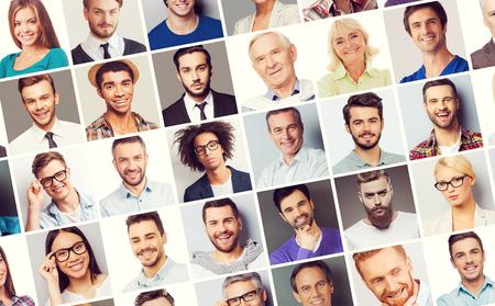 menschen unterwegs: Alles über Personen. Collage aus verschiedenen multiethnischen und altersgemischten Menschen, die verschiedene Emotionen