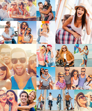 haciendo el amor: Diversi�n desatada. Collage de diversas personas j�venes multi�tnicos expresan emociones positivas en diferentes situaciones Foto de archivo