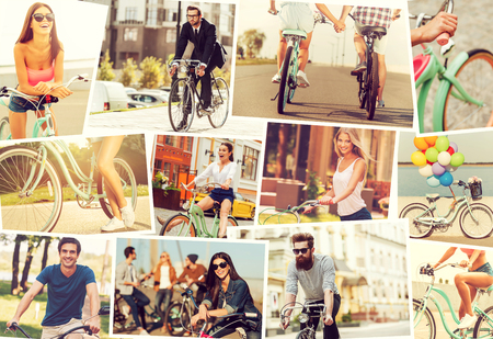 People on bicycles. Collage of diverse young people on bicycles expressing positive emotions while riding photo