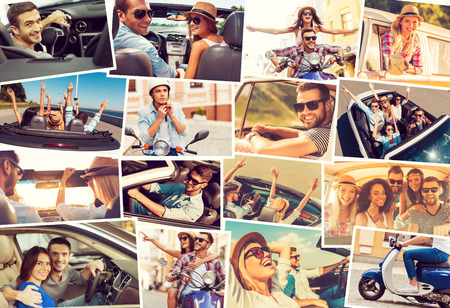 collages: On the wheels. Collage of diverse young people in the car or mopeds expressing positive emotions while riding Stock Photo