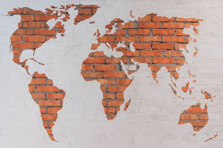 bricks: World map. Close-up image of brick world map on the wall Stock Photo