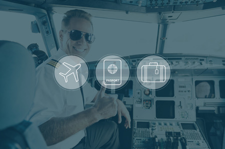 air plane: Have a nice flight. Digitally composed icon set over a picture of smiling pilot sitting in cabin crew Stock Photo