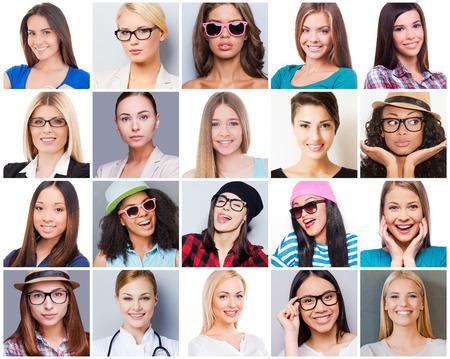 Alles over vrouwelijkheid. Collage van diverse multi-etnische en gemengde leeftijd vrouw die verschillende emoties