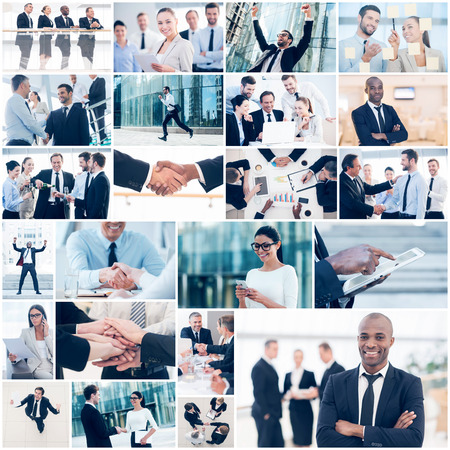 african business: Business collage. Collage of diverse multi-ethnic business people in different business situations