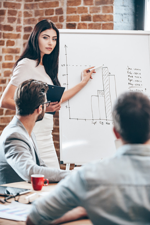 man office: We have some space for growth. Beautiful young woman standing near whiteboard and pointing on the chart while her coworkers listening and sitting at the table
