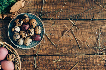 d cor: Easter preparations. Top view of Easter eggs on plates and plant lying on wooden rustic table with hay