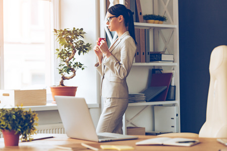woman business suit: Time to gather all ideas. Side view of pensive young beautiful businesswoman in glasses holding coffee cup and looking through window while standing at her working place Stock Photo