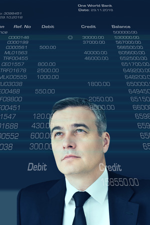 digitally generated image: Looking into future. Digitally generated image of mature businessman looking up at account statement