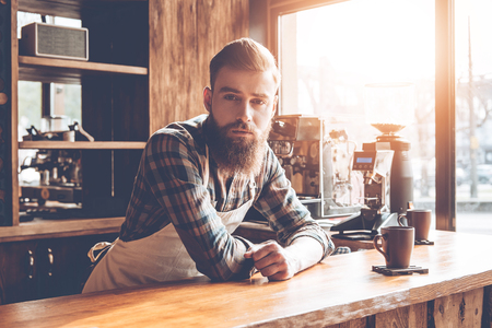 How may I help you? Young bearded man in apron looking at camera while leaning to bar counter at cafe