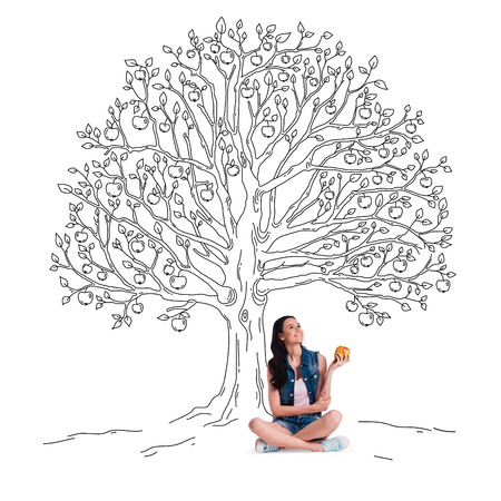looking up: Enjoying summer. Beautiful young cheerful woman holding apple and looking up with smile while sitting in lotus position under sketch of apple tree Stock Photo
