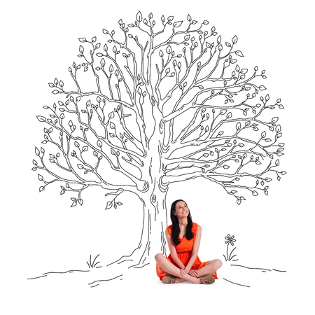 looking up: It is spring time! Beautiful young cheerful woman looking up with smile while sitting in lotus position under sketch of tree with green leaves