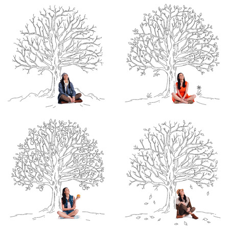 sitting people: Staying beautiful any season. Collage of beautiful young cheerful woman looking up with smile while sitting under sketch of tree in different seasons Stock Photo
