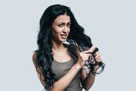 expressing negativity: Tangled hair. Attractive young woman in casual wear combing through her hair and looking at camera while standing against grey background
